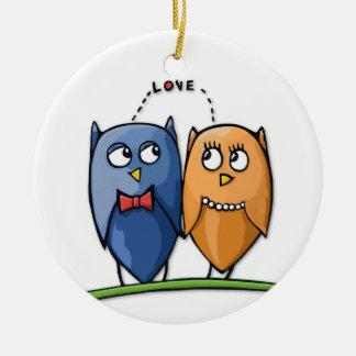 Owl Love Round Ornament