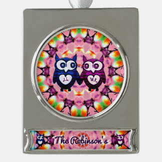 Owl Love~ Silver Plated Banner Ornament