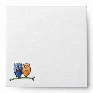 Owl Love Square Invitation Envelope envelope