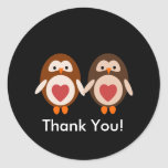 Owl love thank you sticker for card