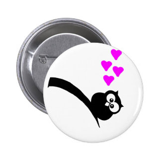 Owl love thick with fat heart pin