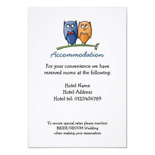 "Owl Love Wedding Enclosure Card 3.5"" X 5"" Invitation Card"