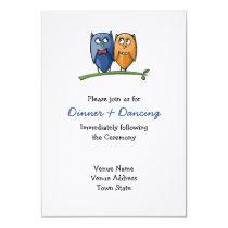 Owl Love Wedding Reception Card