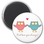 owl love you 2 inch round magnet