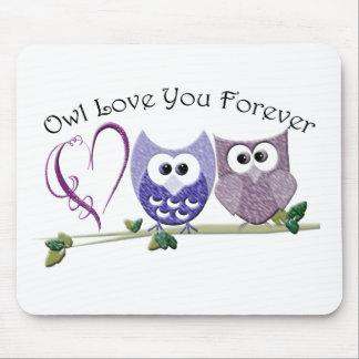 Owl Love You Forever, Cute Owls and Heart design Mouse Pad