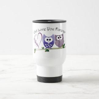 Owl Love You Forever, Cute Owls and Heart design Travel Mug