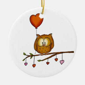 Owl love you - Valentine's Day gift Ceramic Ornament