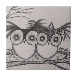 """Owl lovebirds - Small (4.25"""" x 4.25"""") Tile by Coba"""