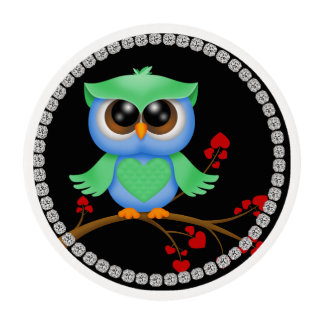 OWL LOVERS  Frosting Cupcake Topper Bling LOOK Edible Frosting Rounds