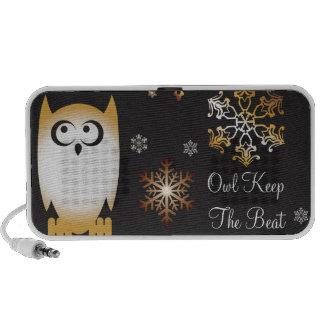 Owl Lovers Punny Holiday Owl in Gold & Black Portable Speaker