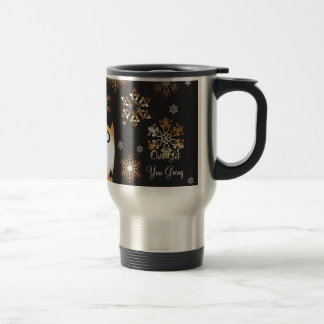 Owl Lovers Punny Holiday Owl in Gold & Black Travel Mug