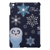 Owl Lovers Punny Holiday Snowy Owl in Blue Case For The iPad Mini