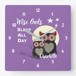 Owl Lovers Super Cute Funny Personalized Square Wall Clock