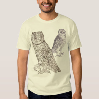 Owl Lovers T-Shirt - Design Based on Antique Print
