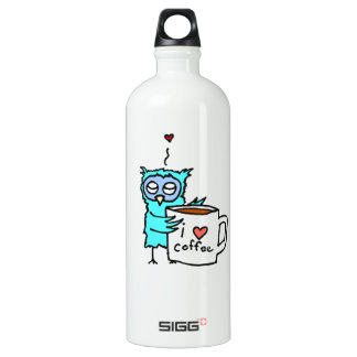 Owl Loves Coffee Aluminum Water Bottle