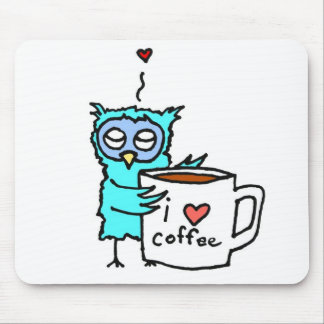 Owl Loves Coffee Mouse Pad