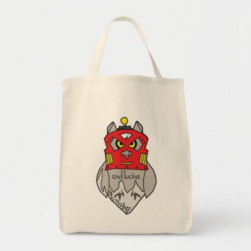 Owl Lucha Robot Grocery Tote Tote Bags