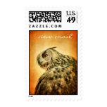 Owl mail postage stamps