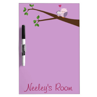 Owl Mama And Baby in Purple Dry Erase Board