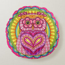 Owl Mandala Round Pillow - Colorful Cute Owl Art