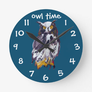Owl mania collection round clock