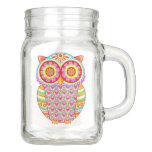 Owl Mason Jar - Cute Groovy Colorful Owl Mason Jar at Zazzle
