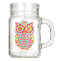 Owl Mason Jar - Cute Groovy Colorful Owl Mason Jar