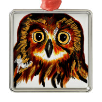 Owl Metal Ornament