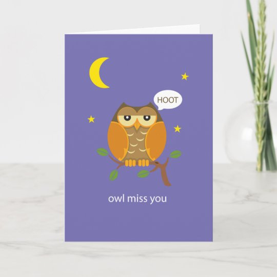 Owl miss you greeting card zazzle owl miss you greeting card m4hsunfo