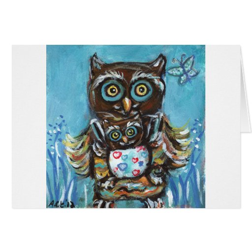 Owl Momma with baby Card