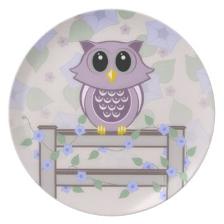 Owl Morning Glory Melamine Plate