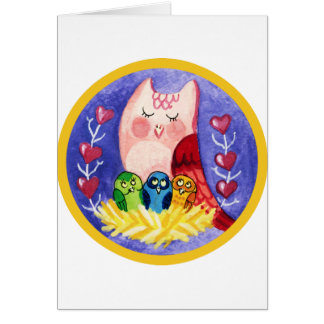 Owl mother of triplets card