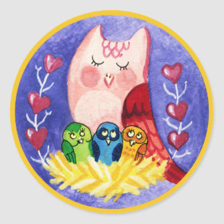 Owl mother of triplets classic round sticker