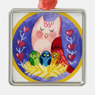 Owl mother of triplets metal ornament