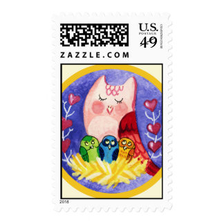 Owl mother of triplets stamps