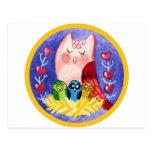 Owl mother of triplets postcard