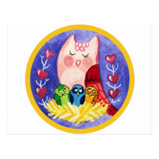 Owl mother of triplets post cards