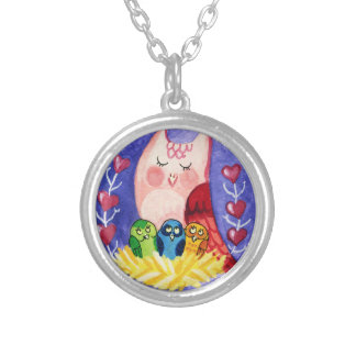 Owl mother of triplets silver plated necklace