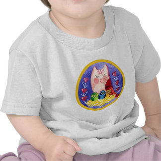 Owl mother of triplets t shirts