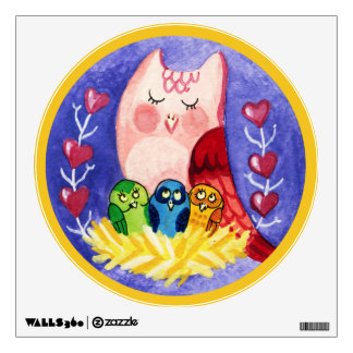 Owl mother of triplets wall sticker