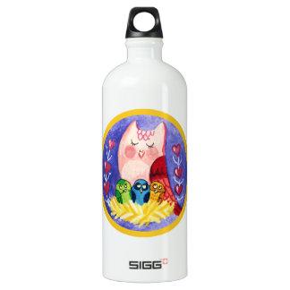 Owl mother of triplets water bottle