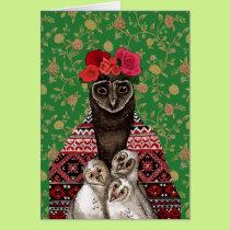 Owl mother triplets owl  babies card