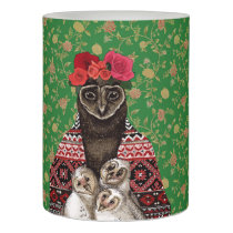 Owl mother triplets owl  babies flameless candle