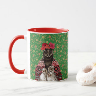 Owl mother triplets owl  babies mug
