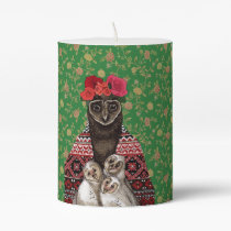 Owl mother triplets owl  babies pillar candle