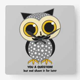 owl mustache you a question square wall clock