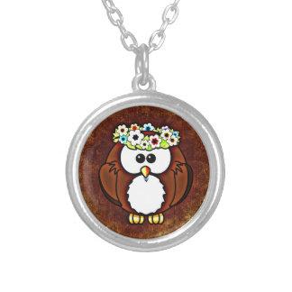 Owl Round Pendant Necklace