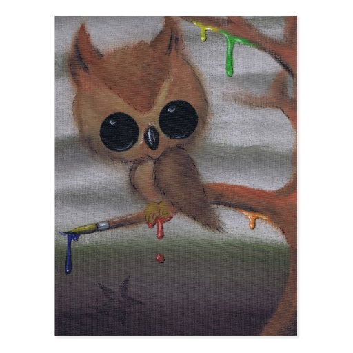 owl never give in postcard