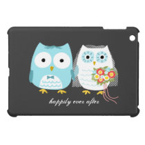 Owl Newlyweds - Cute Couple with Custom Text iPad Mini Case