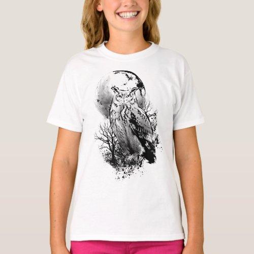 Owl Night Animal Moon Darkness  Spirit Animal T_Shirt